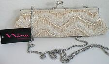 Nina Mabry Evening Shoulder Bag Champagne Satin Fabric Beads Chain Strap NWT