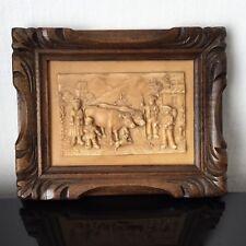 Petit Tableau Ancien Pierre d'Auvergne Fontaine Pétrifiée Scène Campagnarde