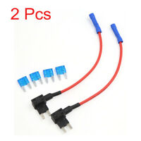 2PCS TAP Mini Add-a-circuit Car ATM Low Profile Blade Style Fuse Holder 15A