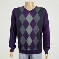 NEW Apt. 9 Merino Wool Argyle V-neck Pullover Sweater LARGE Purple Gray