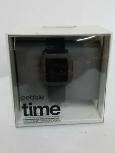 Pebble Time Stainless Steel Case Jet Black Classic Buckle - (501-00020)**