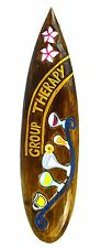 """New listing 24"""" Hand Carved Group Therapy Surfboard Sign Wall Tiki Bar Tropical Island Decor"""