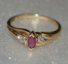 10k Yellow Gold Fancy Cut Stone Ruby? Ring w/ Diamond Chips Size 7.0-7.25