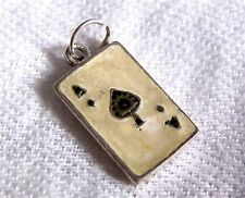 Vintage Sterling Silver Enamel Ace of Spades Playing Card Charm Pendant