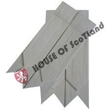 Men's Highland Scottish Kilt Hose Sock Flashes White Tartan Garter Pointed Wool