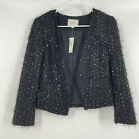 NEW LOFT Jacket 0 Cropped Blazer Open Black Sequin Long Sleeve Fuzzy Party