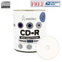 100 Pack Smartbuy Blank CD-R 52X 700MB 80M White Inkjet Printable Record Disc