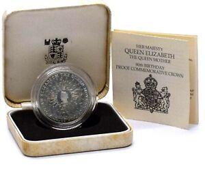 1980 Silver Proof 80th Birthday Commemorative Crown Coin Box COA
