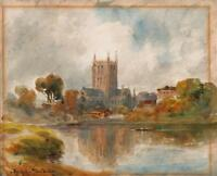 THOMAS DUDLEY (1857-1935) Antique Watercolour Painting HEREFORD CATHEDRAL c1900