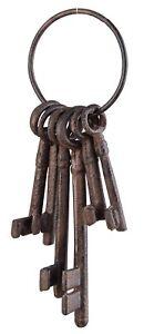 Haunted House Set of 6 Keys on Ring Halloween Ornament Cast Iron