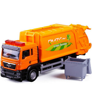"6"" Man Garbage Truck w/ Trash Bin Model Car Diecast Gift Toy Vehicle Orange Kids"