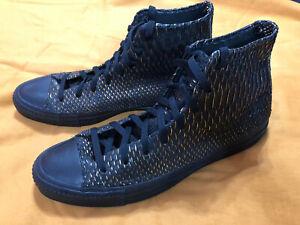 Customized Converse Shoes Men's Black Gold Snakeskin Unworn Size 12