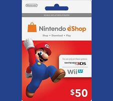 US / USA $50 Nintendo 3DS Wii U Prepaid Points Card eShop - WORLDWIDE SHIPPING!!