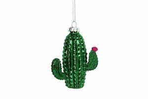 Gisela Graham Nouveauté Verre Peint Cactus Suspendu Noël Décoration