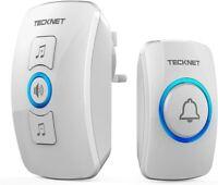 TeckNet Wireless Waterproof Door Bell UK Plug-in Cordless Door Chime Kit 820ft