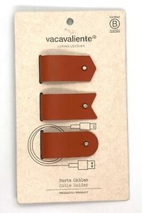 Amazing Trio of Cable Holders in 100% Recycled Leather in Mattone Color #AR2150