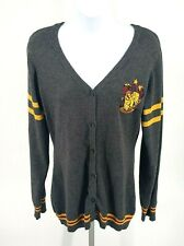Harry Potter Womens Large Gryffindor Cardigan Gray Yellow Stripe Buttons Soft