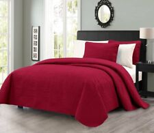 Pinsonic Quilted Austin Oversize Bedspread Coverlet 3-piece Queen Set, Burgundy