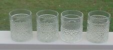 Lovely Vintage Anchor Hocking Pressed Glass 'Wexford' Pattern Glasses x 4