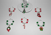 MAKE YOUR OWN SET OF 6 CHRISTMAS WINE GLASS CHARMS KIT  TABLE DECORATION