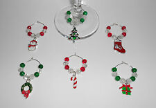 SET OF 6 CHRISTMAS WINE GLASS CHARMS CHRISTMAS TABLE DECORATION STOCKING FILLER