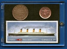 TITANIC Stamp, 1912 Canada Large Penny and 2012 Canada Penny Last Year Minted