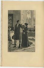 ANTIQUE ELIZABETHAN ERA COSTUME DRESS PRETTY WOMAN ARCHITECTURAL CEILING PRINT