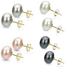 Wholesale Natural Genuine Akoya Freshwater Pearl 14K Gold Stud Earrings AAA