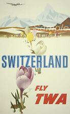 VINTAGE SWITZERLAND TWA TRAVEL A4 POSTER PRINT