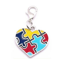 Autism Awareness Charms Clip On Heart Puzzle Piece Aspergers Jewelry Lot of 10