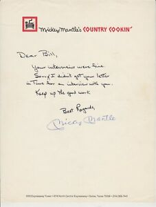 Mickey Mantle Autographed Mickey Mantle's Country Cookin Letter