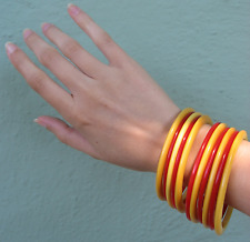 VINTAGE YELLOW & RED SPACER BAKELITE BANGLE BRACELETS SET OF ELEVEN