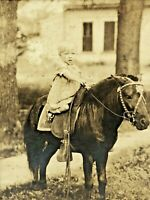 Circa 1890s Vintage Cabinet Card Photo Small Child Riding Pony Horse