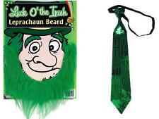Green Beard & Sequin Long Tie St Patricks Day Fun Leprechaun Irish Mens Costume