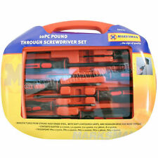 10PC GO THROUGH POUND SCREWDRIVER SET IN CASE MAGNETIC TIP POZI FLAT MECHANIC
