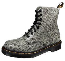 DR. MARTENS 8-EYE Leder Schlange Schnür-Boots Stiefel Gr.39 grau schwarz NEU