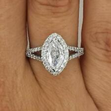 2.00 Ct Marquise Cut  D/Vs Diamond Engagement Ring 18K White Gold