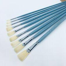 XDT#686 Fishtail Fan Artist Paint Brushes #6 5Pc Set Hog Oil Acrylic Watercolor
