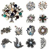 Vintage Crystal Pearl Flower Tree Plants Brooch Pin Women Wedding Jewellery Gift