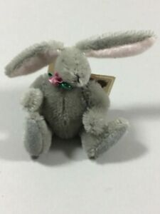 Vintage 1988 Handmade Miniature Jointed Mohair Teddy Bunny/ Kathy Corley