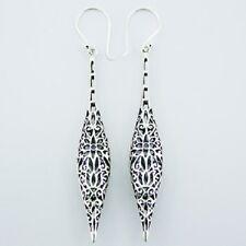 Silver Earrings Hook Long Drop 85mm 925 Sterling Dangle Floral Bali Style