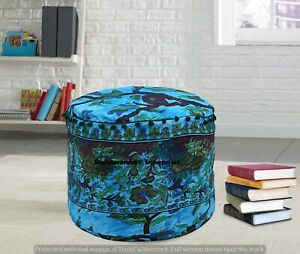 Indian Tree Of Life Floor Cushion Cover Mandala Round Ottomans Decor Pouffe Case