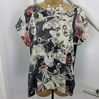 Phase eight Top Boat Neck Cap Sleeves Floral Printed Shirt Size UK 12