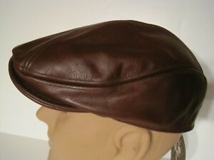 SCALA Classic RED WINE burgundy Leather driving Cap Hat S/M