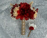Burlap Rustic Country Red Cream Ivory Tan Wedding Bouquet Bride Groom