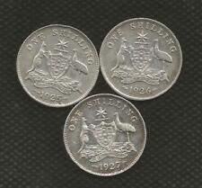 1925,1926 & 1927 SHILLING - GEORGE V - FINE CONDITION - 3 COINS