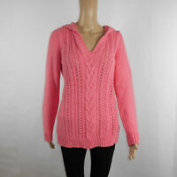 Tommy Bahama Relax Womens Chunky Cable Knit Hooded Sweater Pink Size Large