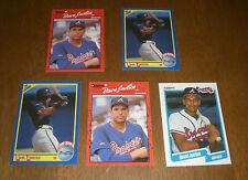 5 BRAVES DAVID JUSTICE 1990 ROOKIE CARDS - DONRUSS - FLEER - SCORE