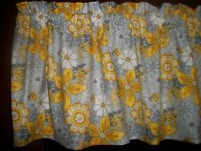 Gray Yellow Flower Floral Baby's Breath retro bedroom fabric curtain Valance