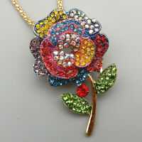Women's Colorful Crystal Rose Flower Pendant Betsey Johnson Necklace/Brooch